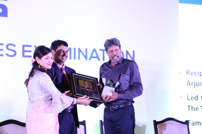B. Singh Sir (CMD, NEXT IAS) and Jyoti Ma_am (Managing Director) honouring Kapil Dev (Chief Guest) during Felicitation ceremony for NEXT IAS students selected in UPSC CSE 2017