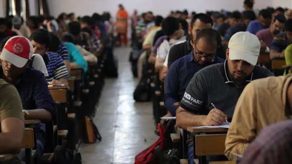 Students writing examination during Anubhav Prelims 2019